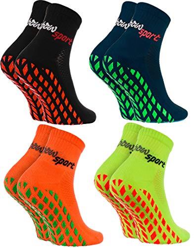 Rainbow Socks - Damen Herren Neon Sneaker Sport Stoppersocken - 4 Paar - Schwarz Blau Orange Grün - Größen: EU 39-41