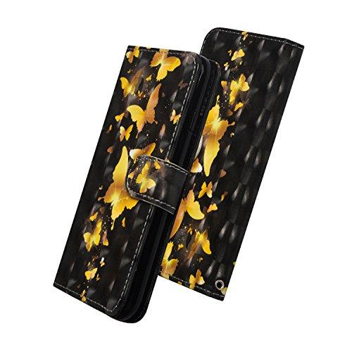 WIWJ Schutzhülle für Huawei Honor 10 Lite Lederhülle Flip Wallet Cover[3D-Malerei Halterung Ledertasche]Handyhüllen Kompatibel mit Huawei Honor 10 Lite/Huawei P Smart 2019 Hülle-Goldener Schmetterling