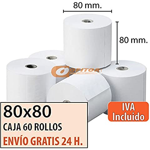 30 Rollos Papel Térmico 80x80