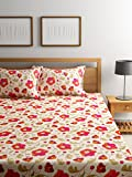 #10: Bombay Dyeing Elements 120 TC Polycotton Double Bedsheet with 2 Pillow Covers - Red