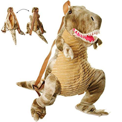alles-meine.de GmbH 3-D Rucksack & Kuscheltier - XL groß -  Dinosaurier - Tyrannosaurus Rex - grau  - Plüsch Kinderrucksack / Plüschtier - für Kinder & Erwachsene - Kindergarte.. (Wie Ist Groß T-rex)