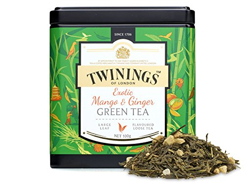 TWININGS Tea - Discovery Collection - Exotic Mango and Ginger Green Tea - 100gr Caddy Lose Tee