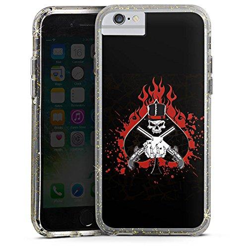 Apple iPhone 8 Bumper Hülle Bumper Case Glitzer Hülle Totenkopf Skull Fire Bumper Case Glitzer gold