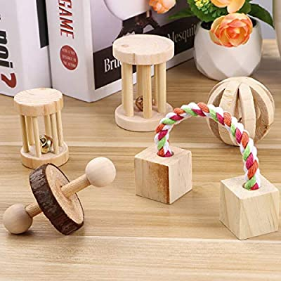 POPETPOP 5PCS Hamster Chew Toys Natural Wooden Play Toy Exercise Bell Roller Teeth Care Molar Toy for Bunny Rabbits Rats Gerbils and Other Small Animals from POPETPOP