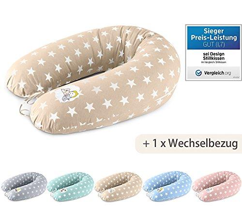 Baby Stillkissen Schwangerschaftskissen XXL 190 + 1x noch ein Kissenbezug aus Baumwolle - schadstoffgeprüft  Füllung: langlebige Faserbällchen kuschlig & leise. Bezug mit Reißverschluss und hochwertiger Stickerei