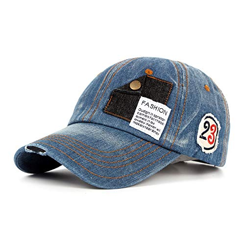 YITEJIA-BASEBALL CAPS Gorra de béisbol de Moda para Hombre y Mujer Moda Lavado algodón Vintage Gorra de béisbol Hombres Motocicleta Ribete Viejo Sombrero (Color : Denim Blue, tamaño : 56-60CM)