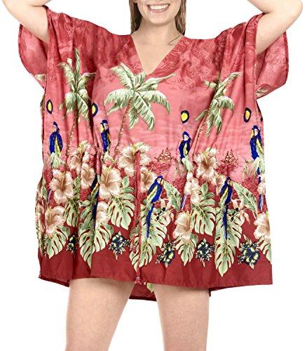 La Leela Bademode Bikini Strand verschleiern Badebekleidung Badeanzug Kaftan Top-Frauen der roten Bluse Rot