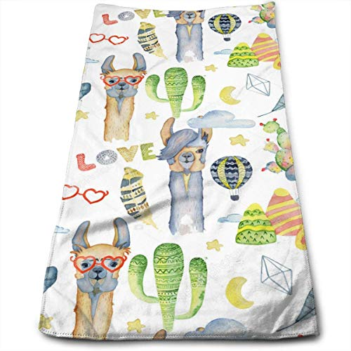 Anti-Fading Polyester Hand Towel Alpaca and Cactus Tropical Durable Antibacterial and Highly Absorbent Reusable Polyester Towel