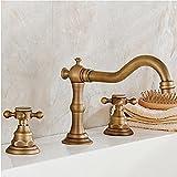 In ottone massiccio due maniglie tre fori diffuso rubinetto lavandino del bagno ottone antico Finito Deck Monte vasca Rubinetti durevole Vintage flessibili WC Rubinetti