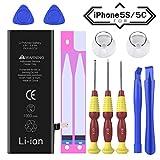Akku Kompatibel für iPhone 5s / 5c 1560mAh Lithium lonen Battery, Ossky Ersatzakku für iPhone 5s / 5c Batterie mit Werkzeugset und Reparaturset Anleitung zur schnellen und einfachen Reparatur