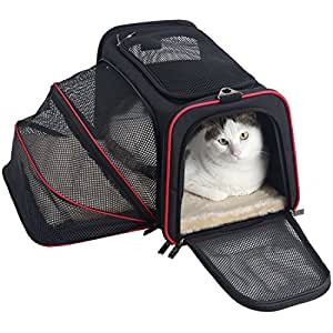 Petsfit Expandable Travel Zip Open Top Dog Carrier, Strong Wire Frame Fabric Cat Carrier, Portable Soft Sides Pet Carrier with Fleece Pad, Shoulder Strap Used for Car, Back Belt Used for Luggage, Medium, Black