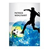 Kartenkaufrausch 4 personalisierte, Tolle Fußball DIN A4 Schulhefte, Schreibhefte mit Fußball Spieler in blau Lineatur 21 (liniertes Heft)