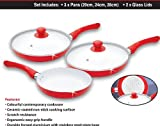 5 Piece Ceramic Non Stick Frying Pan With Glass Lid 20cm 24 cm 28cm Frying Pan Red