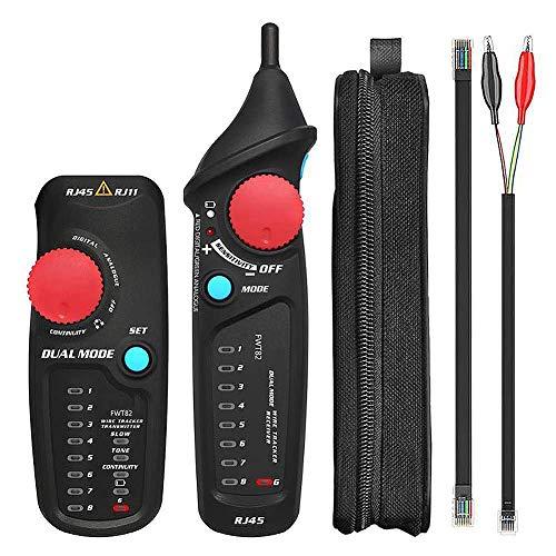 YESAN Kabel-Tester, RJ11 RJ45 Leitungsfinder, Kabel-Tracker für Netzwerkkollation, Telefon-Test, einstellbare Empfindlichkeit, LED-Taschenlampe, Ethernet LAN Line Finder