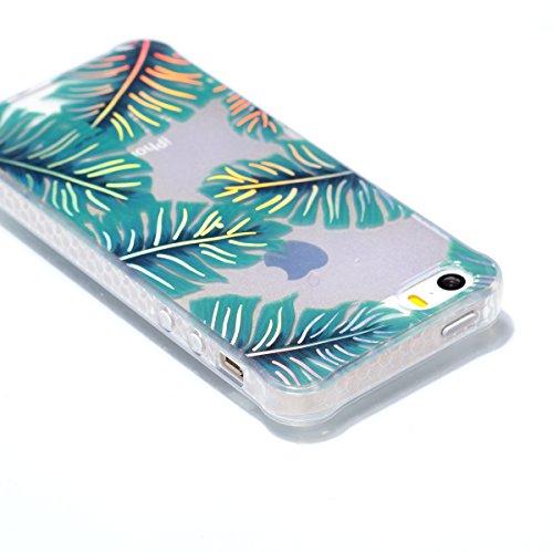 Apple iPhone 5 5G 5S SE Hülle, Voguecase Schutzhülle / Case / Cover / Hülle / Plating TPU Gel Skin (Transparente-Bunt Durchstochen 08) + Gratis Universal Eingabestift Transparente-grüne Blätter 06