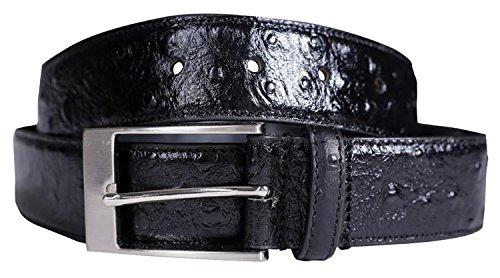 Chocolate Pickle® Neu Herren 35mm Breit Reptil Haut Echt Leder Stift Gürtel Black - Stud Textured Genuine Leather Fashion Belts M