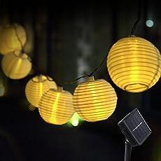 Innoo Tech Solar Lichterkette Lampions 20er LED Garten Außen Innen Wasserfest 3,3 Meter Warmweiß Solar Beleuchtung für Party, Terrasse, Hof, Haus, Outdoor, Fest Deko usw. …
