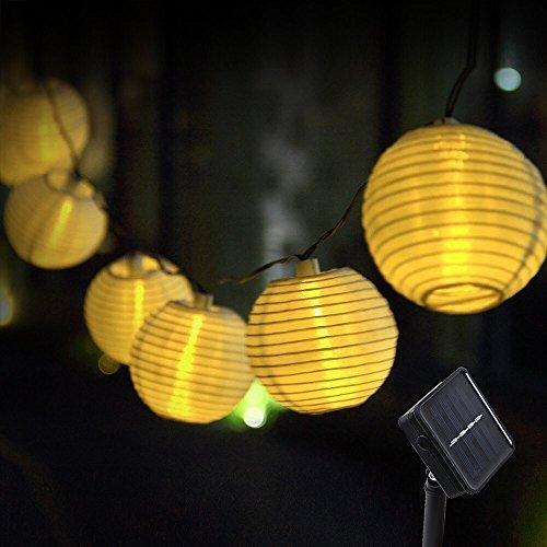 Innoo Tech Solar Lichterkette Lampions 20er LED Garten Außen Innen Wasserfest 3,3 Meter Warmweiß Solar Beleuchtung für Party, Terrasse, Hof, Haus, Outdoor, Fest Deko usw. ...