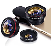 Handy Objektiv Set fisheye Lens - 3in1 Clip On Fischauge Kamera Adapter (0.28 X fisheye,0.6X 130° Weitwinkelobjektiv, 15X Makroobjektiv) for IOS & Android Smartphones