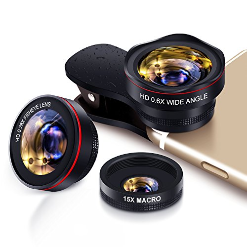 Yarrashop Handy Objektiv Set fisheye Lens - 3 in 1 Clip On Fischauge Kamera Adapter (0.28 X fisheye,0.6X 130° Weitwinkelobjektiv, 15X Makroobjektiv) for Smartphones