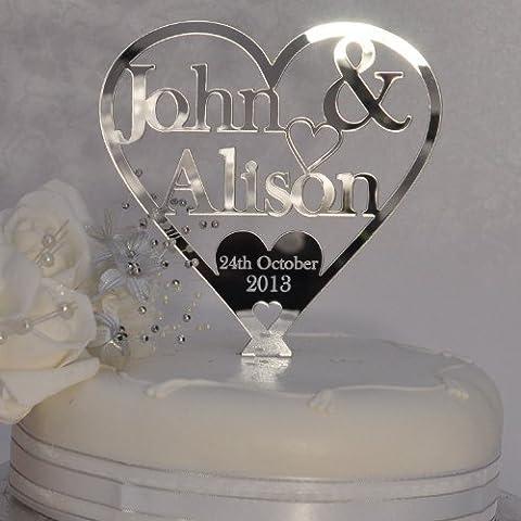 Personalised Bride and Groom Heart Cake Topper 125mm x 125mm - Wedding Keepsake - Silver Mirror Acrylic -