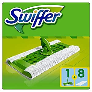 Swiffer Starter Kit Scopa con 1 Manico + 8 Panni di Ricambio, per Catturare e Intrappolare la Polvere 17 spesavip