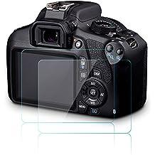 Protector de Pantalla de la Cámara para Canon EOS 1200D 1300D T5 T6 Kiss X70 X80, AFUNTA 2 Paquete Antiarañazos Antideslumbrante de Cristal Templado de Cámara DSLR