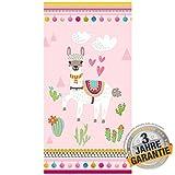 Aminata Kids - Strandtuch Lama für Mädchen groß 75x150 cm Alpaka Handtuch Duschtuch Badetuch mit Motiv für Strand Schwimmbad Strandhandtuch Reisehandtuch