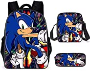 16 Inch School Backpack 3D Hedgehogs Sonic Pattern Travel Outdoor Bookbag with Shoulder Bag and Pencil Pouch f