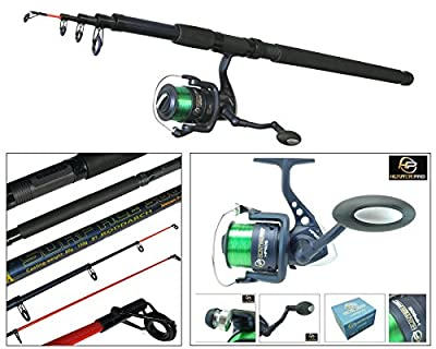 Telescopic Sea Fishing Kit Travel Rod & Reel 10ft 10' Beachcaster Pier Surf Rod by Hunter Pro