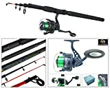 Telescopic Sea Fishing Kit Travel Rod & Reel 10ft 10' Beachcaster Pier Surf