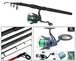 Telescopic Sea Fishing Kit Travel Rod & Reel 10ft 10' Beachcaster Pier Surf Rod