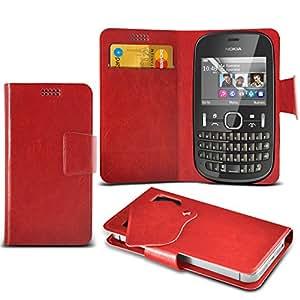 (Rouge) Nokia Asha 200 fabriqué sur mesure de protection en cuir PU Wallet Avec carte de crédit / débit Slots aspiration Cover Case Pad Case aspiration en cuir Wallet Pad Cover peau avec de Crédit / Débit Card Slots Exclusif Accessoires Elite