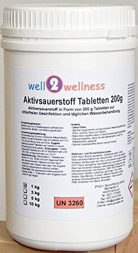 well2wellness Aktivsauerstoff Tabletten 200g/Sauerstofftabletten/O²-Tabletten 200g chlorfrei - 1,0 kg