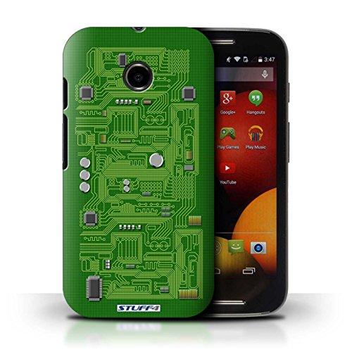 Kobalt® Imprimé Etui / Coque pour Motorola Moto E (2014) / Pourpre conception / Série Circuit Board Vert
