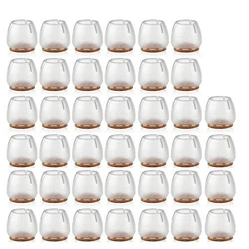 40 Piezas Silla de Silicona Pierna Pies Pies Almohadillas Muebles Cubiertas de Mesa Protectores de Piso para 25-29 MM Piernas Redondas Transparente Antideslizante