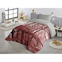 COTTON ART- Funda Nórdica ARBOLES ROSA Cama de 150 (240x260cm)+ 2 FUNDAS DE ALMOHADA (45X80cm) MICROFIBRA Disponible para cama de 90, 105, 135, 150 y 180.