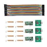 Neuftech 3 x 433MHZ Module Récepteur/ Transmetteur Kit Récepteur + 10 x Printemps Antenne + 40 x 20cm Câbles pour BreadBoard Femelle à Femelle