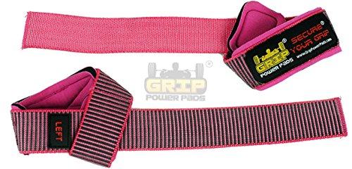 Deluxe Rosa Frauen Klassisch Heavy Duty Neopren gepolstert Weight Lifting Straps , mit Baumwolle...