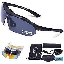 Carfia TR90 UV400 Unisex Gafas de Sol Deportivas Polarizadas 5 Lentes de Cambios Incluido para Deporte y Aire Libre Ciclismo Conducción Pesca Esquiar Golf Correr Negro