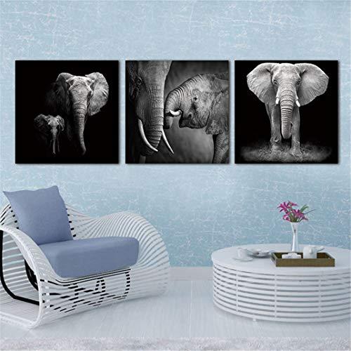 FENGCLOCK Elefantes en Blanco y Negro Animales Salvajes Pintura en Lienzo, Impresión...