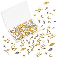 82 Pieces Cosmos Themed Resin Fillers and Constellation Theme Resin Fillers Set Moon Star Resin Charms Alloy Epoxy Resin Supplies Star Moon Constellation Filling Accessories for Resin Crafts Making