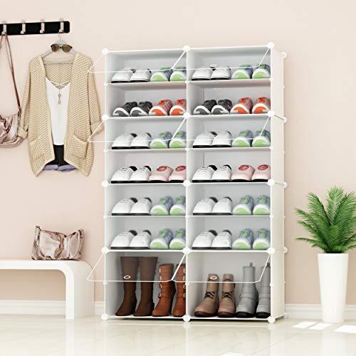 PREMAG Portable Shoe Storage Organizer Tower, Weiß mit transparenten Türen, Modular Cabinet Regale für platzsparende, Schuhregal Regale für Schuhe, Stiefel, Hausschuhe 2 * 5 - 2 Regal-modular-storage