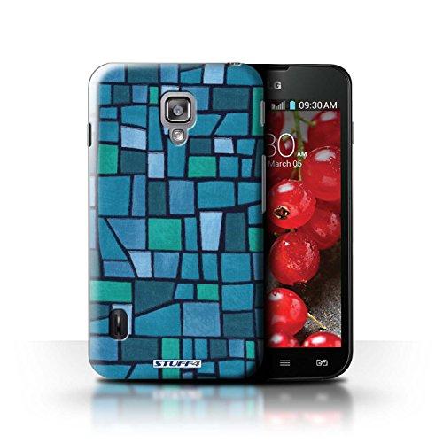 Kobalt® Imprimé Etui / Coque pour LG Optimus L7 II Dual / Vert/Bleu conception / Série Carrelage Mosaïque Bleu/Turquoise