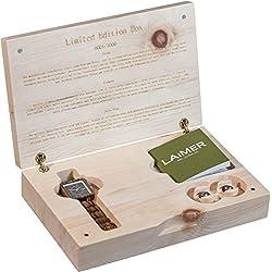 LAiMER Geschenksbox Holzuhr Mod. Kathrin mit Ohrstecker aus Zebranoholz mit Swarovski Kristallen| 100% Zebrano | Naturprodukt | Südtirol | Limitiert auf 1000 Stück