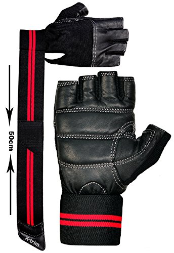 XTRIM - MACHO - LEATHER - GYM WORKOUT GLOVES - BLACK ( M / L / XL / XXL ) WRIST WRAP GLOVES - For Men -Washable Real Leather, Durable, Double Stitched, 4-way Stretch Mesh, Half Finger Length, No Sweat, Extra Foam Padded, Luxurious Wrist Wrap with abundant support GUARANTEE !!!