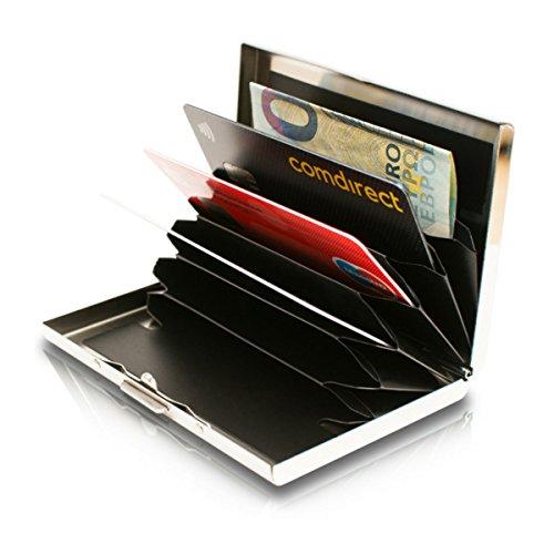 9e53461ccb02f0 Card Genie Portafoglio Rigido Anti RFID Uomo/Donna in Acciaio Inox Satinato  – Porta Carte