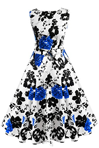 ACEVOG Damen 1950er Retro Vintage Sommerkleid Partykleid Cocktailkleid Abendkleid Knielang Ärmllos Weiß & Blau Blumen