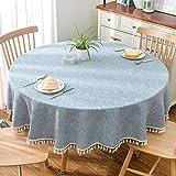 xsongue tischdecke Tischtuch Grand Round Table Reine Farbe Blau Gezackte Wasserdichte Baumwoll-Hemme Zu Hause Stoff Stoff Küche Picknick-Party-Tisch Durchmesser 140cm