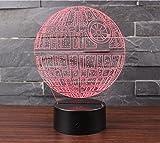 3D Optische Illusions-Lampen NHsunray LED 7 Farben Touch-Schalter Ändern Nachtlicht Für Schlafzimmer Home Decoration Hochzeit Geburtstag Weihnachten Valentine Geschenk Romantische Atmosphäre (Todesstern)